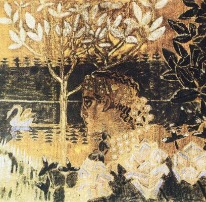 Каминный экран-панно «Князь Гвидон и Царевна-Лебедь» (1890-е), созданный М. Врубелем, и сейчас находится в гостиной абрамцевского дома.
